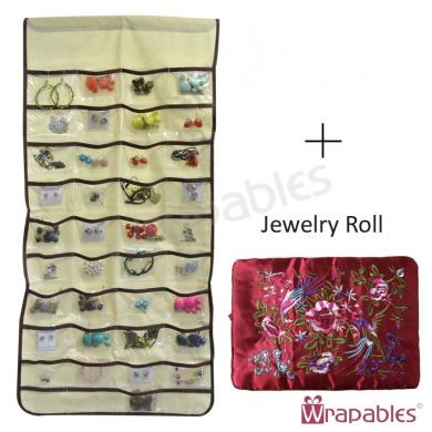 80 Pocket Hanging Jewellery Organiser + Large Burgundy Silk Embroidered Jewellery Roll