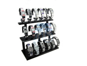 Black Acrylic Display Stand for Jewellery Bangle, Watches. Capacity 18, 3 Layer