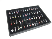 Black Velvet Jewellery Display Case for Pendants Charms, 56 Clips