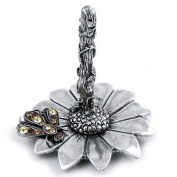 Pewter Flower Ring Holder with Austrian Crystal Bee Accent
