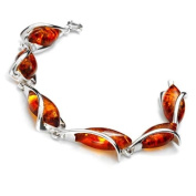 Sterling silver and marquise-shaped, cognac amber bracelet