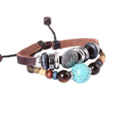FASHION PLAZA Simulated Turquoise Bead PU Leather Bracelet - Adjustable -L54