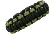 Paracord Survival Bracelet - Olive Drab & black- 19.1cm - Para18