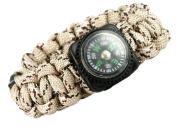 """Paracord Survival Bracelet - Desert Camoflage w/ Compass - 8.""""- Para05"""