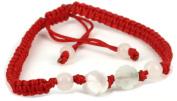 Handmade Red String Bracelet with Jade Flower - St017
