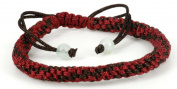 Luos Handmade Maroon/brown String Bracelet with 2 Jade Beads- St033