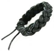 Handmade Thick Black Leather Bracelet- St022