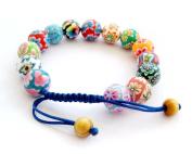 Colourful Fimo Flower Bead Adjustable Bracelet