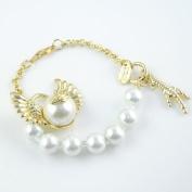 Gold Bangles Desgin,charm Golden Angel Wing with Pearl Linked Fashion Bracelet, Br-1016