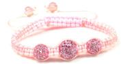 Luos Handmade 3 Pink Feng Shui Crystal Ball Pink String Bracelet - St054