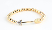 Gold Plated stretchable bead Bracelet with Arrow charm with clear Crystals.