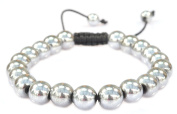 Magnetic Round Silver colour Hematite Bracelet -Good for Healing and Energy -Or Arthritis Pain Relief -91041