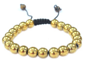Magnetic Round Gold Colour Hematite Bracelet- Good for Healing and Energy -Or Arthritis Pain Relief -91042