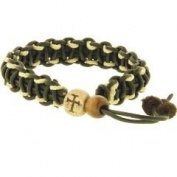 Christian Unisex Wood Cross Bead Multi-fibre, Leather & Macrame Adjustable Bracelet