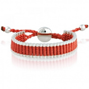 London Style Silver Plated Cylinders / Red Cord Adjustable Friendship Bracelet
