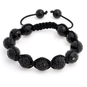 Bling Jewellery Cyber Shamballa Inspired Bracelet Pave Black Crystal Disco Ball Faceted Onyx 12mm