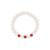 Pearlyta Freshwater Cultured Pearl Stretch Baby Bracelet with Red Crystals