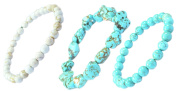 ( a Set of 3) Turquoise Stone Bracelets- Good for Protection and Healing - 91045