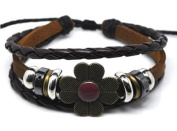 Beaded Three Strand Leather Bracelet with a Metal Star Charm, Barrel Bead at Centre, Black Chrome and Chrome Coloured Spacers, Metallic tubes, Metallic Spacers, Wooden Beads and Green Hemp Wrap on Dark Brown Leather. Adjustable for Men, Women and Teens ..