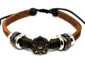 Beaded Single Strand Leather Bracelet with Metal Flower Centrepiece, Black Chrome and Chrome Coloured Spacers, and Green Hemp Wrap on Light Brown Leather. Adjustable for Men, Women and Teens.
