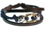 Yin-Yang Blue and Brown Leather Zen Bracelet