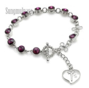 6mm Purple. Bead Rosary Bracelet