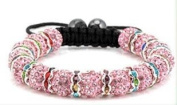 Pink with Silver Tone Multi-Colour Links Shamballa Bracelet Continuous Row of 15 Pave Crystal Balls