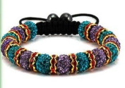 Green & Purple Lavender with Red Links Shamballa Bracelet Continuous Row of 15 Pave Crystal Balls