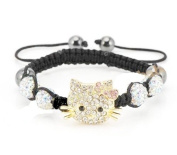 Hello Kitty Inspired Shamballa Bracelet in Glistening Crystals
