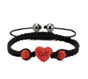Heart Shamballa Bracelet in Red Crystal