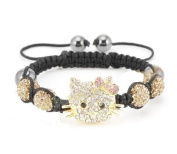 Hello Kitty Inspired Shamballa Bracelet in Gold Crystals