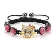 Hello Kitty Inspired Shamballa Bracelet in Pink
