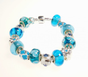 Blue Pandora Inspired Charm Bracelet - Blue and Turquoise Murano Glass Beads - Kiki's Blue and Turquoise Pandora