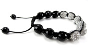 12mm Iced Out Black & White Beaded Agate Bracelet + Gift Box