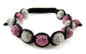 10mm Iced Out Pink & Clear Beaded Bracelet + Gift Box