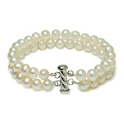 Sterling Silver 2-Row White A Grade 6.5-7mm Freshwater Cultured Pearl Bracelet, 7.25""