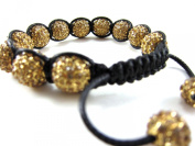 12mm Fully Iced Out Gold / Yellow Adjustable Bracelet + Gift Box