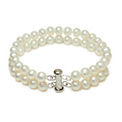 Sterling Silver 2-Row White A Grade 6.5-7mm Freshwater Cultured Pearl Bracelet, 8""