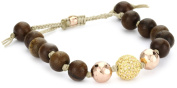 Tai Wood Beads, Rose Gold Hammered Ball and Crystal Ball Bracelet