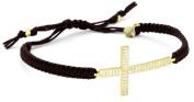 Tai Large. Crystal Cross on Brown Cotton Cord Bracelet