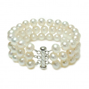 Sterling Silver 3-Row White A Grade 8.5-9mm Freshwater Cultured Pearl Bracelet, 7.25""