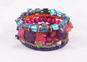 New Beaded Cuff Bracelet with Multi Coloured Shell & Beads