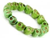 Hand Crafted Green Howlite Turquoise Skull Bracelet - Sk008
