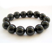 BIG Black Agate Stone 14mm Bead Beaded Stretch Bracelet