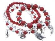 Heavenly Angel Multi-strand Red Turquoise with Angel Charm Bracelet