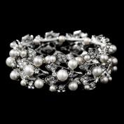 Bridal Wedding Jewellery Crystal Rhinestone Pearl Leaf Stretch Bracelet Silver