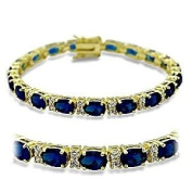 17.8cm Gold Plated Tennis Bracelet With Oval Cut Sapphire Cubic Zirconia