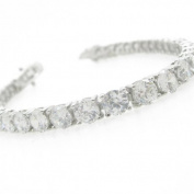 Ladies .925 Italian Sterling Silver round cut cz tennis bracelet Length - 8 inches Width - 5mm