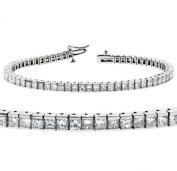 5.00 CT TW Channel Set 100% Natural Princess Cut Diamond Tennis Bracelet in 14k White Gold