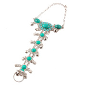 Rosallini Woman Turquoise Green Beads Silver Tone Chain Ring Bracelet